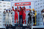 GT2 Podium from left: #75 Prospeed Competition Porsche 997 GT3 RSR: Marco Holzer, Richard Westbrook, #96 AF Corse Ferrari F430 GT: Gianmaria Bruni, Jaime Melo and #92 JMW Motorsport Aston Martin V8 Vantage: Robert Bell, Darren Turner