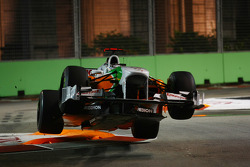Adrian Sutil, Force India F1 Team gets airbourne after hitting the chicane