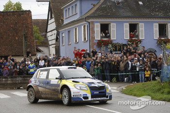 Patrik Sandell and Emil Axelsson, Skoda Fabia S2000, Red Bull Rallye Team