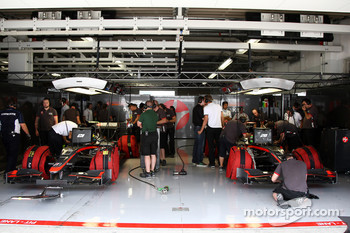 The Hispania Racing F1 Team garage