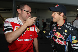Race winner Sebastian Vettel, Red Bull Racing with Stefano Domenicali, Scuderia Ferrari Sporting Director