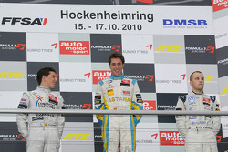 Podium: race winner Daniel Juncadella, Prema Powerteam Dallara F308 Mercedes, second place Roberto Merhi, Muecke Motorsport Dallara F308 Mercedes, third place Laurens Vanthoor, Signature Dallara F308 Volkswagen
