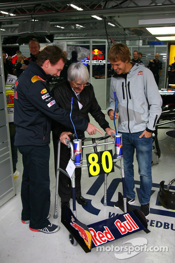 Bernie Ecclestone turns 80 next week and for a special birthday present the Red Bull team have given him a Zimmer frame with Sebastian Vettel, Red Bull Racing and Christian Horner, Red Bull Racing, Sporting Director