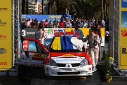 Podium: Yeray Lemes and Rogelio Penate,  Renault Clio S1600