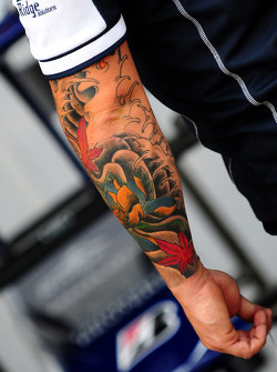 A tatoo on the arm of a Williams mechanic