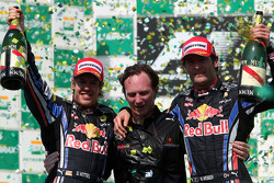 Podium: race winner Sebastian Vettel, Red Bull Racing, second place Mark Webber, Red Bull Racing, with Christian Horner, Red Bull Racing, Sporting Director