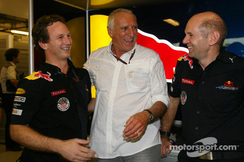 Christian Horner, Red Bull Racing, Sporting Director with Dietrich Mateschitz, Owner of Red Bull and Adrian Newey, Red Bull Racing, Technical Operations Director