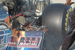 Lex Joon ignites his McKinney Dragster while qualifying with Terry McMillian (left)