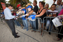 NASCAR Championship drive event in South Beach: Denny Hamlin, Joe Gibbs Racing Toyota signs autographs