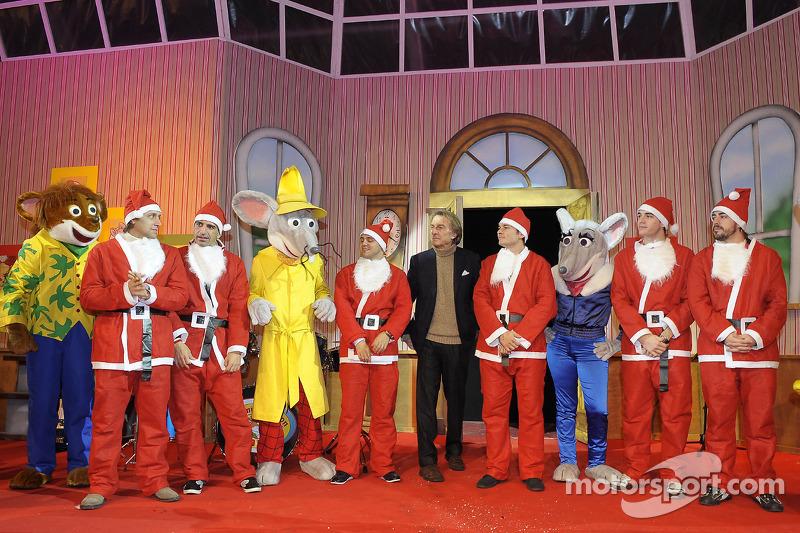 Natale Bimbi event: Luca Badoer, Marc Gene, Felipe Massa, Luca di Montezemolo, Giancarlo Fisichella, Jules Bianchi, Fernando Alonso