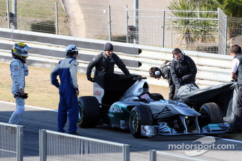 Nico Rosberg, Mercedes GP F1 Team, stops on circuit