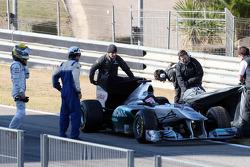 Nico Rosberg, Mercedes GP F1 Team, stops on circuit