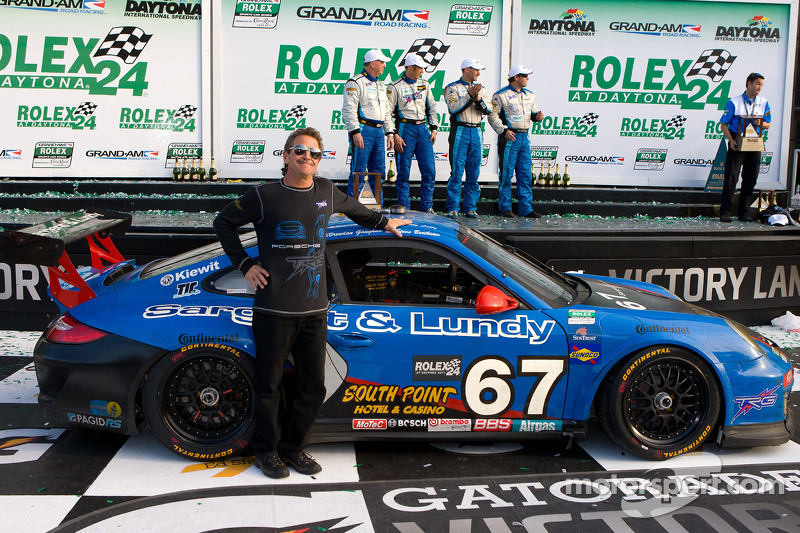 GT victory lane: team owner Kevin Buckler celebrates