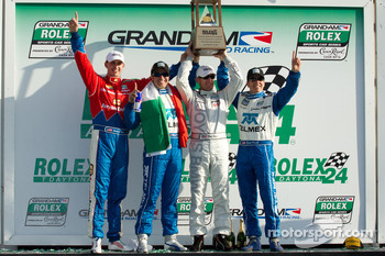DP podium: class and overall winners Joey Hand, Scott Pruett, Graham Rahal and Memo Rojas