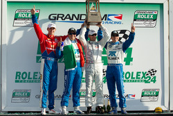 DP podium: class and overall winners Joey Hand, Scott Pruett, Graham Rahal and Memo Rojas