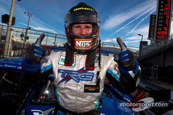 Provisional GT pole winner Andy Lally celebrates