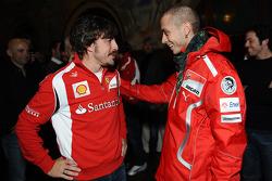 Fernando Alonso, Scuderia Ferrari, and Valentino Rossi, Ducati