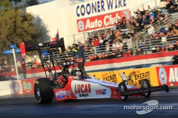 Shawn Langdon aboard his Lucas Oil / Mav TV Top Fuel Dragster