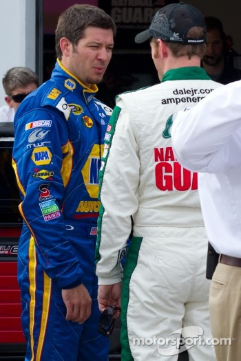 Dale Earnhardt Jr., Hendrick Motorsports Chevrolet and Martin Truex Jr., Michael Waltrip Racing Toyota after crashing