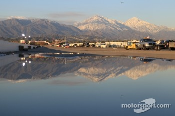 Reflective shot of the California Foothills surrounding the Auto Club Dragway