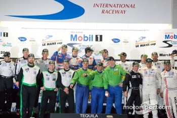Class winners podium: P1 and overall winners Nicolas Lapierre, Loic Duval and Olivier Panis, P2 winners Scott Tucker, Ryan Hunter-Reay and Luis Diaz, GTC winners Tim Pappas, Damien Faulkner and Sebastiaan Bleekemolen, GTE-AM winners Tracy Krohn, Nic Jonss