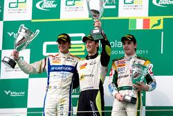 Podium: race winner Romain Grosjean, second place Giedo van der Garde, third place Jules Bianchi