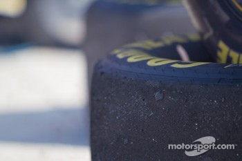 Goodyear tires after a pit stop