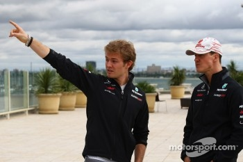 Nico Rosberg, Mercedes GP Petronas F1 Team with Michael Schumacher, Mercedes GP Petronas F1 Team