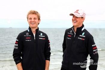 Nico Rosberg, Mercedes GP Petronas F1 Team and Michael Schumacher, Mercedes GP Petronas F1 Team