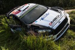 Crashed car of Ott Tanak, Raigo Molder, DMACK World Rally Team