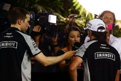 Sergio Perez (MEX) Sahara Force India F1 with the media
