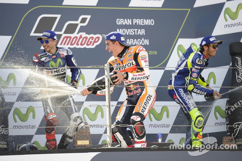 Podium: race winner Marc Marquez, Repsol Honda Team, second place Jorge Lorenzo, Yamaha Factory Racing, third place Valentino Rossi, Yamaha Factory Racing