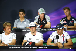 The FIA Press Conference (from back row (L to R)): Esteban Ocon, Manor Racing; Nico Hulkenberg, Sahara Force India F1; Daniil Kvyat, Scuderia Toro Rosso; Nico Rosberg, Mercedes AMG F1; Jenson Button, McLaren; Felipe Massa, Williams