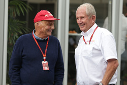 Niki Lauda, Mercedes Non-Executive Chairman with Dr Helmut Marko, Red Bull Motorsport Consultant
