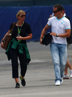 Sabine Kehm, Michael Schumacher's press officer and Michael Schumacher, Mercedes GP