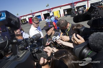 Matt Kenseth, Roush Fenway Racing Ford talks to the media after his crash