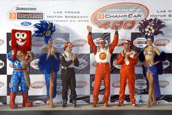 Podium: race winner Sébastien Bourdais with Oriol Servia and Jimmy Vasser