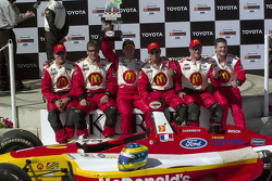 Race winner Sébastien Bourdais celebrates with his crew