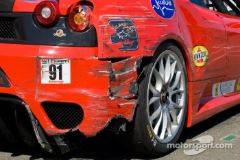 Damage on the #91 Ferrari of Ft. Lauderdale Ferrari F430 Challenge: Guy Leclerc