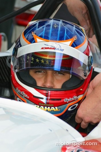 Graham Rahal gets ready to test a Champ Car for Newman Haas Racing