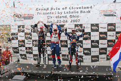 Victory circle: race winner Paul Tracy, second place Robert Doornbos, third place Neel Jani