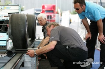 Champ Car tech inspection team members at work
