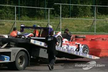 Damaged car of #36 RML HPD ARX -01d: Mike Newton, Thomas Erdos, Ben Collins
