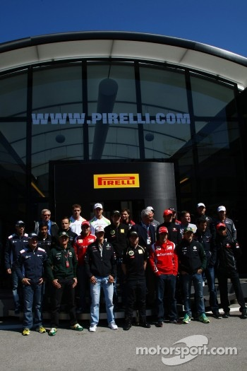 The F1 Drivers pose for a Pirelli photo