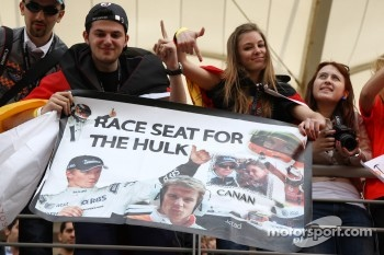A banner in the crowd for Nico Hulkenberg, Force India F1 Team, Test Driver