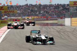 Nico Rosberg, Mercedes GP F1 Team, MGP W02 leads Lewis Hamilton, McLaren Mercedes, MP4-26