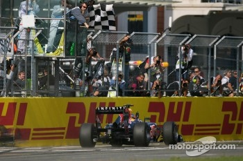 Sebastian Vettel, Red Bull Racing takes the flag