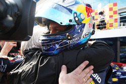 Race winner Sebastian Vettel, Red Bull Racing celebrates with his father Norbert