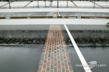 Heavy rain falls on the brickyard