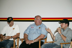 Tomas Scheckter, left, John Barnes, center, and Tomas Enge at Panther Racing headquarters